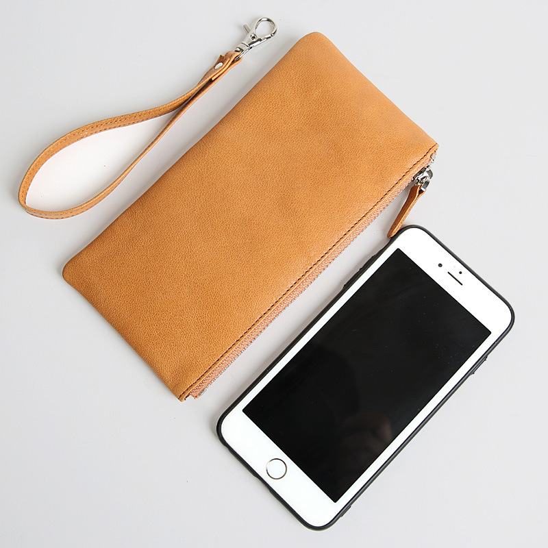 Zipper Wallet Wristlet Genuine-Leather Women Phone-Clutch Handy-Bag Multi-Card Real Unisex