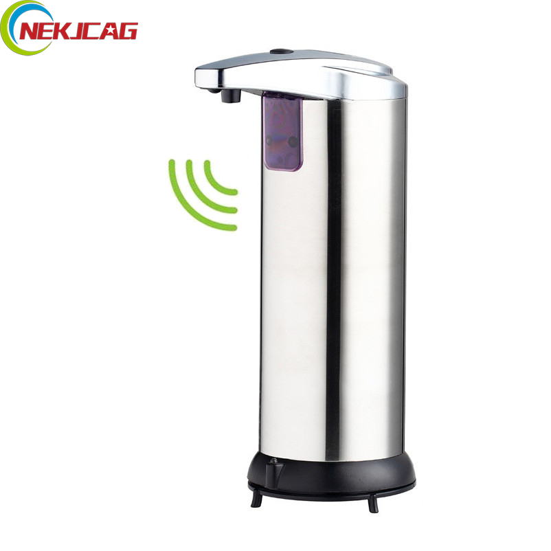 Soap Dispenser Battery Powered 220ml Wall-Mount Automatic IR Sensor Touch-free Kitchen Soap Lotion Pump for Kitchen Bathroom