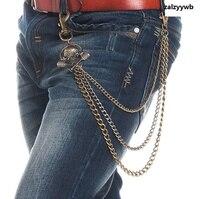 2Fashion Mens 3 Strands Gunmetal Skull Head Biker Trucker Jeans Key Wallet Chain Punk Skeleton