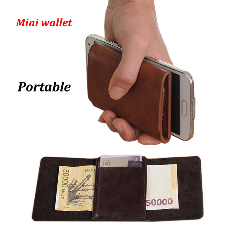 Portable Solid Genuine Leather Small Money Clips Wallet Mini Men's Brand Purse With Magnet Hasp Brown Coffee