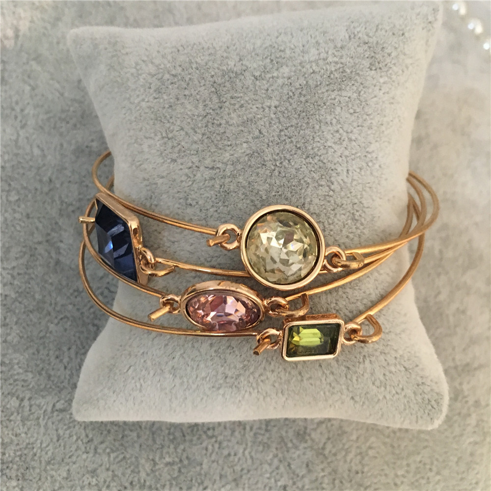 Trendy colorful stone rose blue green openable thin bangle