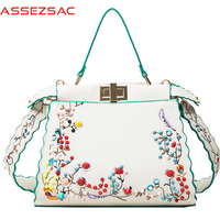 Assez Sac 2017 Women Handbags Print Flower Handbag Women Messenger Bags Leather Bag Female Crossbody Girl