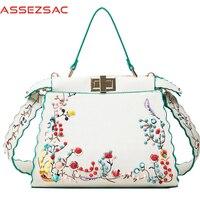 Assez Sac 2017 Women Handbags Print Flower Handbag Women Messenger Bags Leather Bag Female Crossbody Girl