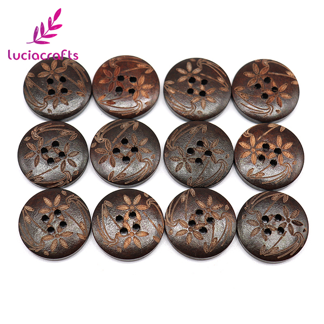 Lucia crafts 6pcs/24pcs 23mm 4-Holes Round Wooden Buttons Laser Marking DIY Natural Wood Button Clothing Accessories 13012309