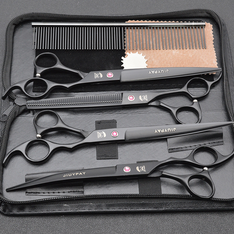 8 0 inch Professional Pet Scissors Dog Grooming Shears Straight Thinning Curved Scissors Set Pet Hair