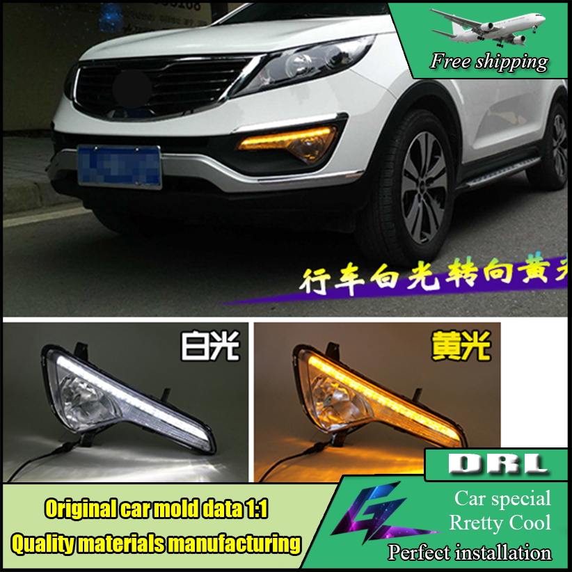Car LED DRL Kit For Kia Sportage R 2010 2011 2012 2013 High brightness guide led fog lamp Daytime running light Daylight car white yellow daytime running light drive lamp for buick regal gs 2010 2011 2012 2013 2014 2015 led drl daylight fog lamp
