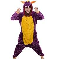 Kadın Onesie Ejderha Pijama Yetişkin Mor Hayvan Komik Rahat Parti Tulum Kış Sıcak Suit Oyunları Oynamak Kıyafet Moda Flanel Yeni
