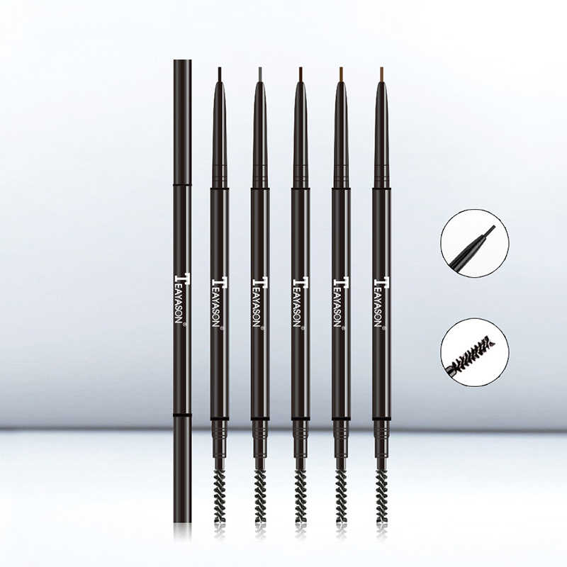 Hot Sale Double Ended Super Slim Eyebrow Pencil & Eyebrow Brush Waterproof Long Lasting Black Brown Eyebrow Tatoo Pen Cosmetics