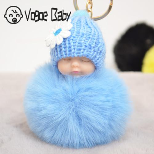 Sleeping Baby Doll Keychain Pompom Faux Rabbit Fur Ball Baby Toy Women Trinket Bag Charms 7479