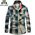 CLOTHES 2016 Autumn Red Plaid Dress Shirts Fashion ASIAN Size 4XL Cotton Shirt Camisas Camisetas Vestidos Men Clothes Casual