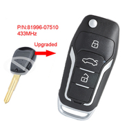 Keyecu Replacement Side 1 Button 433MHz ID46 Car Key Upgraded Flip Remote Key Fob for KIA Picanto 2007 2008 2009 P/N:81996 07510