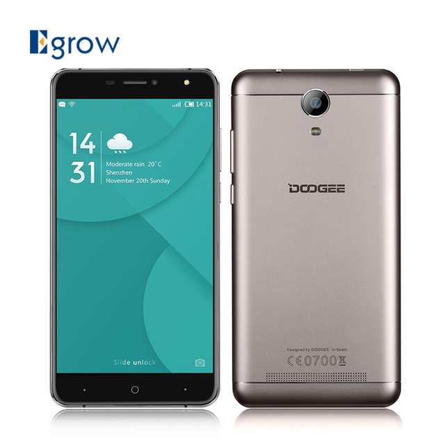 Original Doogee X7 MTK6580 Quad Core Android 6.0 Mobile Phone 6.0 Inch Fingerprint Cell Phones 1G RAM 16G ROM Unlock Smartphone