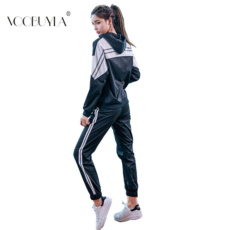 Voobuyla Women Jogging Suits Set Two Piece Sports Wear Gym Sports Suit Women Spring Female Hooded Tracksuit Running Fitness Sets