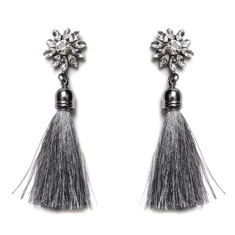 Shiny Crystal Flower Tassel Earrings Jewelry Long