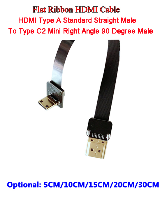 5/10/15/20/30CM Soft Thin HDMI Cable Straight Type A Male To HDMI Male Type C2 Mini UP Angle 90 Degree Flat Ribbon Cable FPV