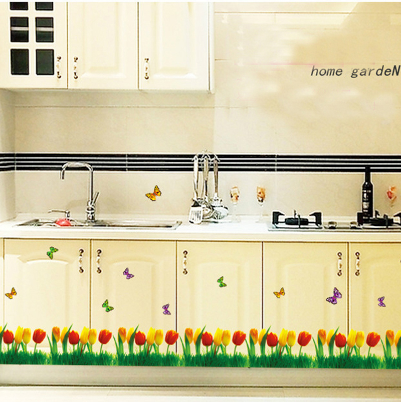 Spring Yellow Red Tulips Floral Wall Sticker Modern