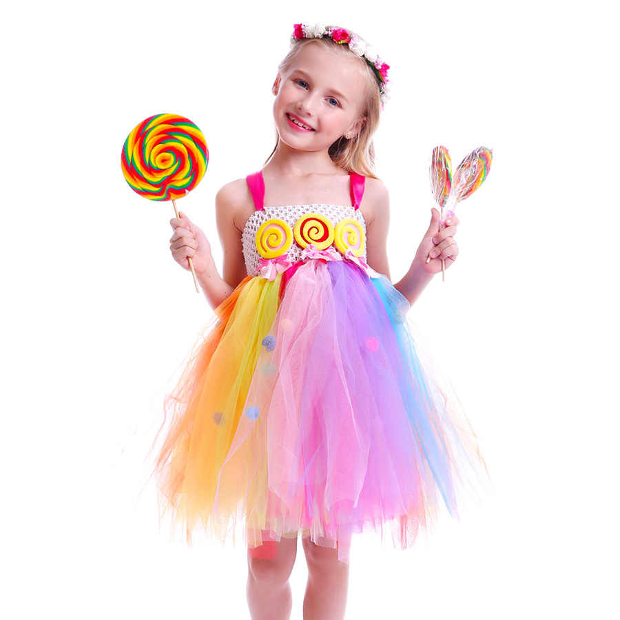 3550723e14c ... Lollipop Candy Girls Tutu Dress Kids Rainbow Birthday Party Dress  Children Sweet Candy Land Outfit Girls ...