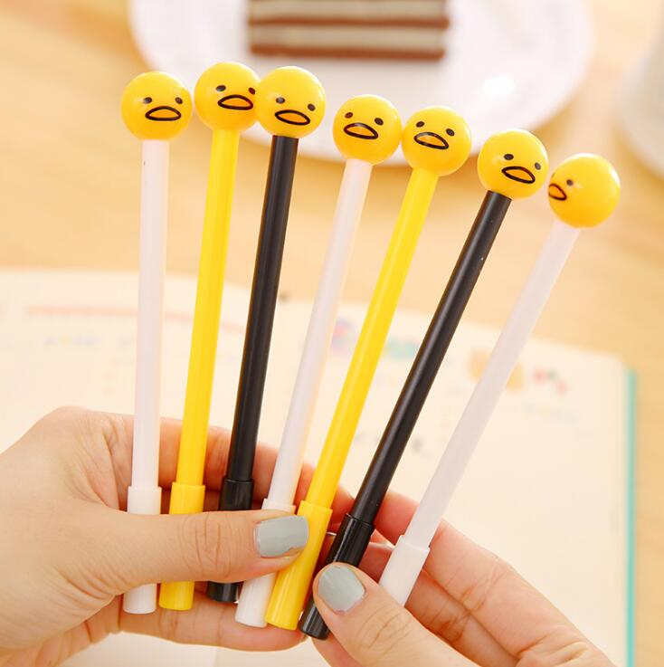 6 pcs/lot 0.38mm Novelty Lazy Egg Round Head Gudetama Ink Pen Promotional Gift Stationery School & Office Supply Birthday Gift