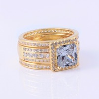Luxury 925 Sterling Silver Simulated Diamond Ring set 3 in 1 Female jewelry Yellow Gold Plated Wedding Rings For Women size 5 10