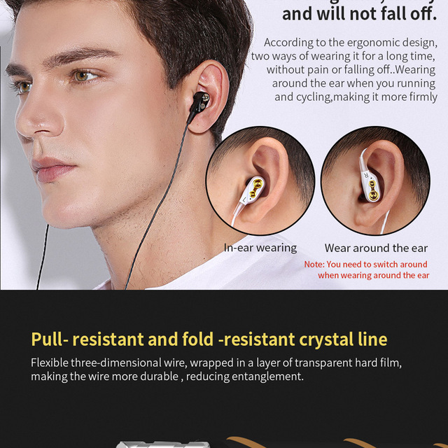 MOOJECAL Dual Driver Earphones In-Ear Stereo Bass earphones Sport Running HIFI Earbuds For xiaomi fone de ouvido auriculares Mp3
