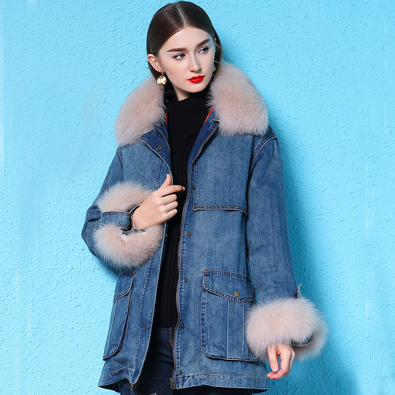 2019 Winter Jacket Women Long Denim Coat Real Natural Fox Fur Collar 90% White Duck Down Jacket Warm Female Parka Outerwear