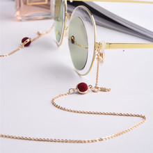 Elegant Red Beaded Glasses Chain Women Eyewear Accessories Sunglasses