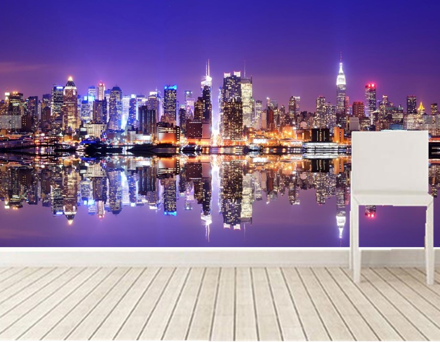 New York City Night Manhattan Cities Wallpapers Mural,ktv