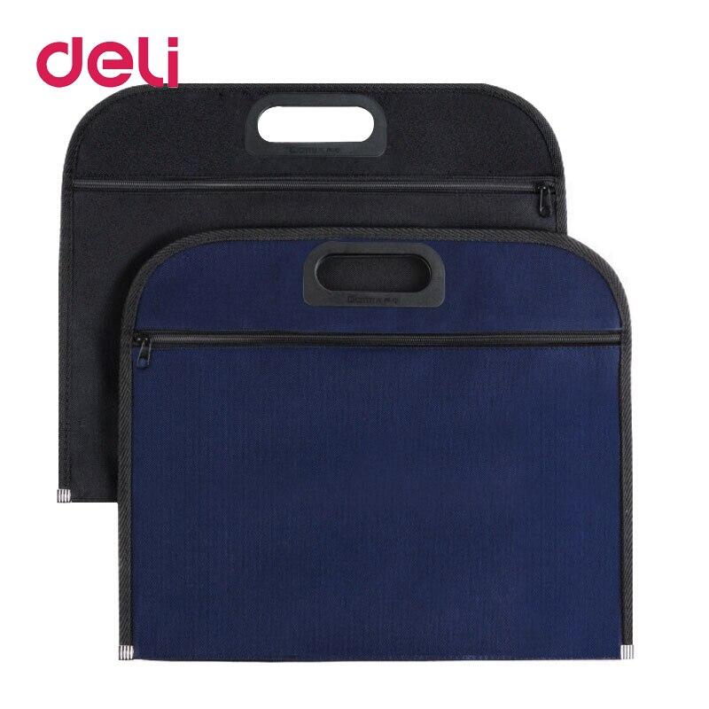 Deli 1pcs File Bag Canvas Portable Portfolio Business Office Zipper File Bag B4 Thick Briefcase Storage Bag A4 340*305mm