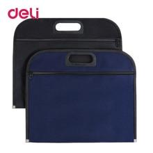 Deli 1pcs File bag canvas portable portfolio business office zipper file B4 thick briefcase storage A4 340*305mm