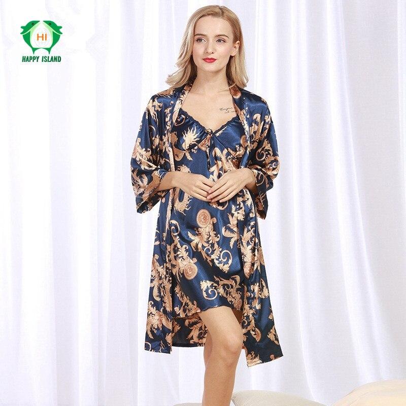 Vestido Flower Chinese Women Silk Rayon 2pcs Robe Sexy Sleepwear Kimono Bath Gown Loose Lounge Nightdress Plus Size 2XL