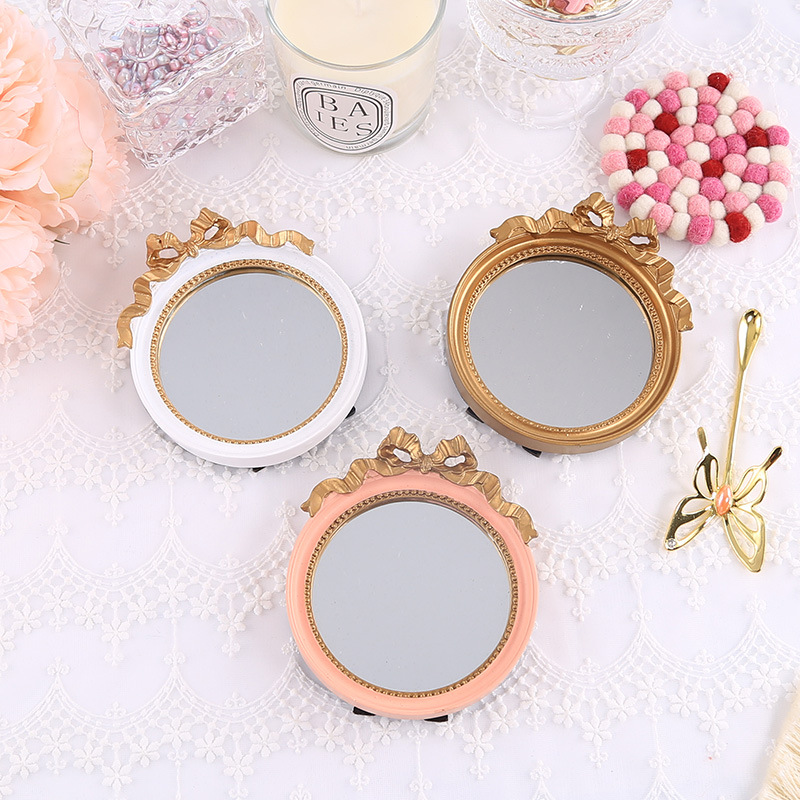 Round Mini White Resin Tray Golden Storage Trays Pink Mirror Organization Dish Fruit Cakes Jewelry Plate Decorative crafts(China)