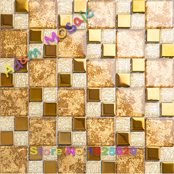 gold tile backsplash glass kitchen golden tiles mirror bathroom wall ...