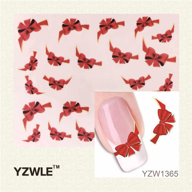 YWK Fantezi Kırmızı Kelebek Kravat Tatlılar Rahat Tırnak Çıkartmaları Çıkartmalar Su Mark Güzellik Süslemeleri Folyo Fransız İpuçları Aracı