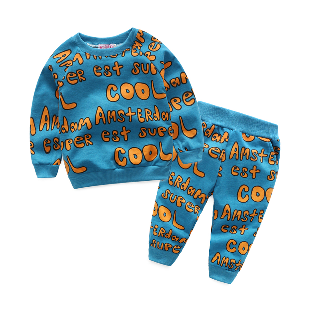 Two Piece Baby Clothes Set Long Sleeve Kids Child Toddlers Sports Clothes Outfit Suits Letter Print Tops Pants for 0-24M Blue