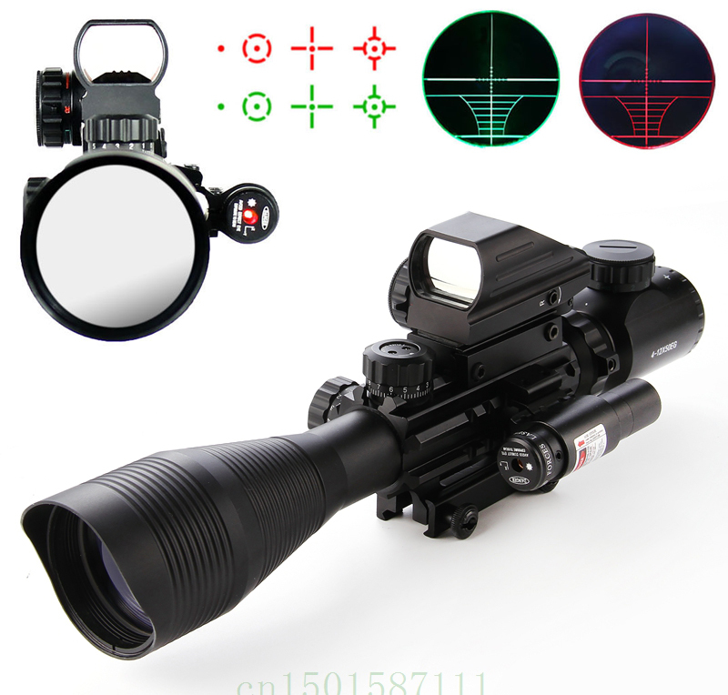 Riflescopes Hunting scopes 4-12X50 EG Tactical Rifle Scope & Holographic 4 Reticle Sight & Red Laser 3 10x42 red laser m9b tactical rifle scope red green mil dot reticle with side mounted red laser guaranteed 100%