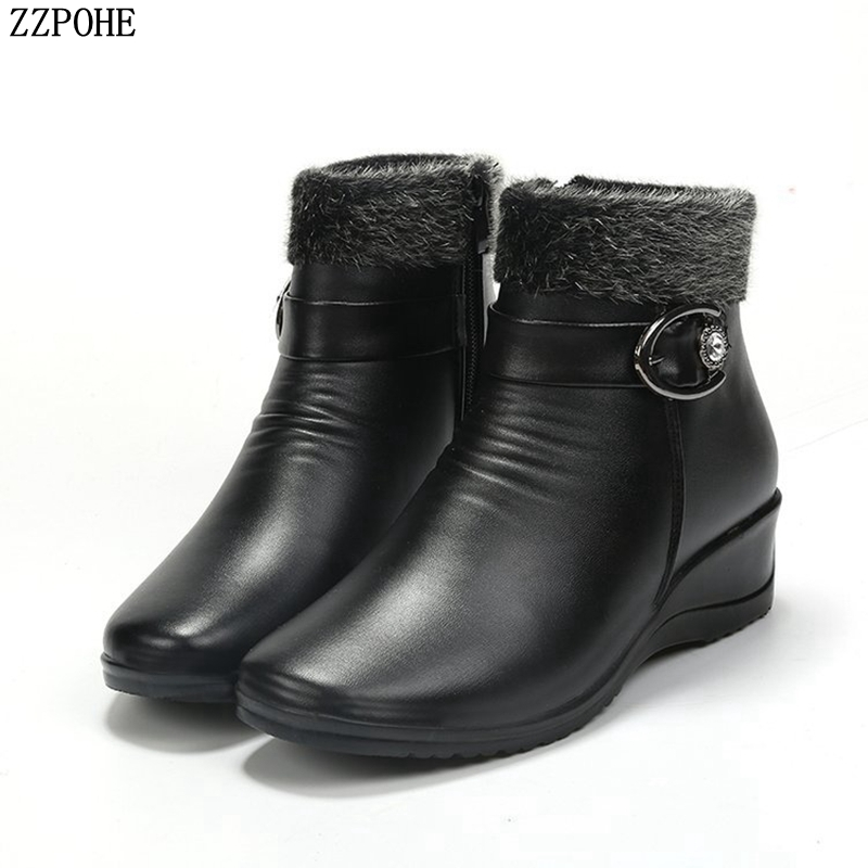 Women Ankle Boots 2018 New Fashion Waterproof Wedge Platform Mother Winter Warm Snow Boots women's casual flat cotton shoes winter boots fashion women boots shoes women casual ankle boots matte suede snow boots cotton warm platform shoes