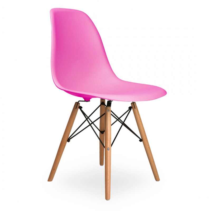 Lot of 4 PP Plastic Coffee Shop Chairs Beech Wood Legs Side Chairs Pink
