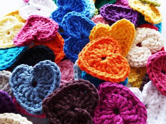 wholesale cotton hand crochet heart appliques scrapbooking sewing trim bow boutique DIY 100pcs/lot