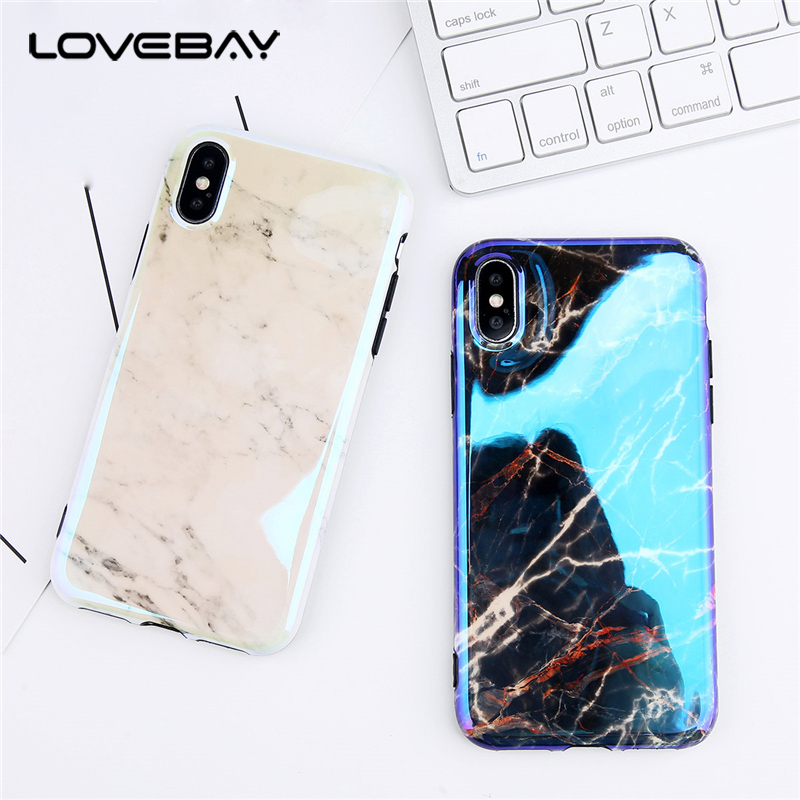 Lovebay Phone Case For iPhone 6 6s 7 8 Plus X Fashion Blue Ray Granite Stone Marble Texture Soft TPU For iPhone 8 Phone Case