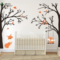 Wall Decal Vinyl Sticker Nursery Large Tree With Birds And Foxes Swing Custom Any Color Wall Art Mural Kid Room Decor DIY WW 350