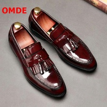 OMDE Men Business Casual Leather Shoes Fashion Patent Pointed Toe Loafers Tassel Luxury Mens Wedding
