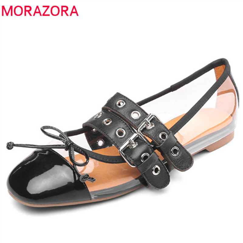 MORAZORA 2019 new arrival genuine leather pvc single shoes woman buckle spring summer casual shoes women