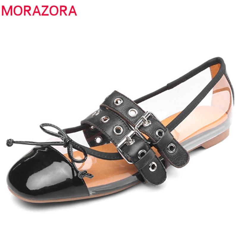MORAZORA 2019 nueva llegada de cuero genuino + pvc zapatos individuales mujer hebilla primavera verano Zapatos casuales mujeres zapatos planos negro-in Zapatos planos de mujer from zapatos    1