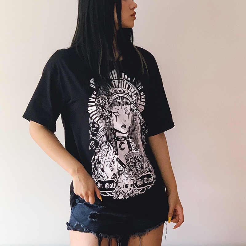 Jiezuofang Grunge Đen Áo Thun In Gothic Rời Punk Harajuku Dạo Phố Mùa Hè 2019 Áo Thun Nữ Thời Trang Mang Tính Thẩm Mỹ