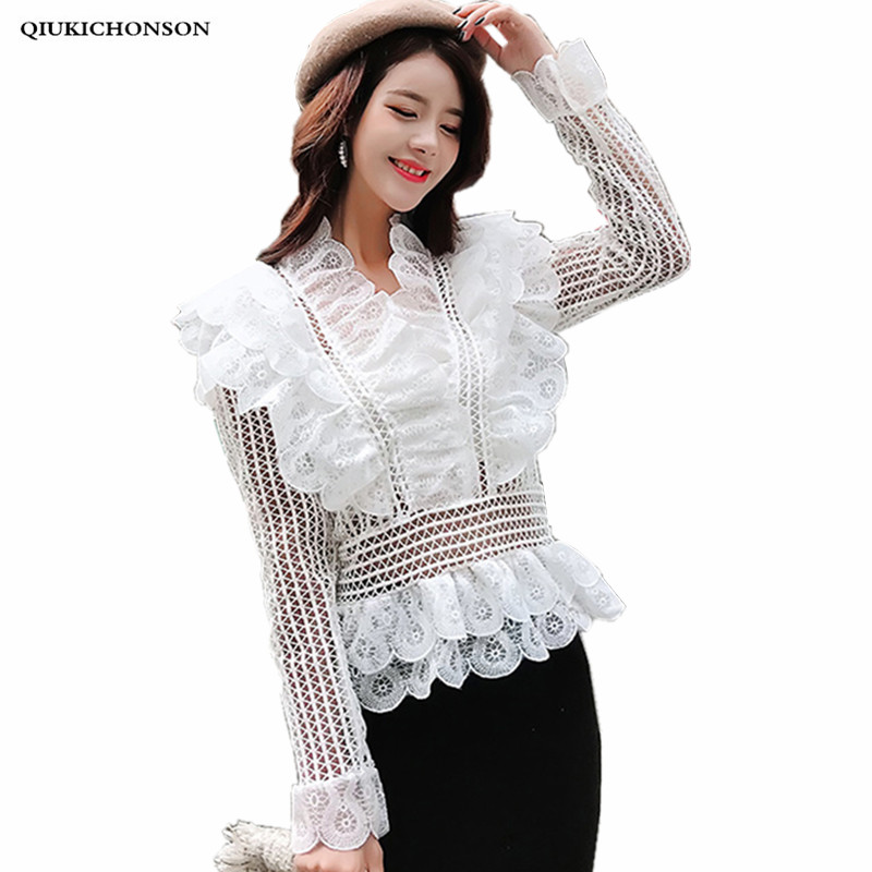 Vintage Palace Style Ruffle Peplum Tops Ladies Summer Hollow Out White Lace   Blouse     Shirts   Long Sleeve Fashion Streetwear blusas
