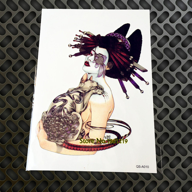 Us 0 88 5 Off 1pc Succuba With Cat Temporary Tattoo Old School Design Gqs A007 Japanese Geisha Body Art Paste Paper For Women Men Harajuku In