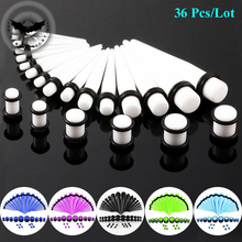 Dark Light 36 PCS/Set Ear Taper Plugs Flesh Piercing Stretching Kit Multicolor Ear Reamer Expander Gauges1.6mm/14G–10mm/00G