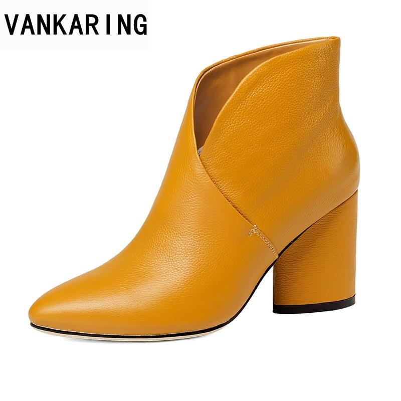 купить VANKARING 2018 women ankle boots genuine leather high heels pointed toe black beige white shoes woman dress party riding boots по цене 3862.94 рублей