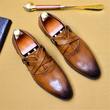 Men genuine leather oxford shoes for mens luxury dress  tassel slipon wedding shoes leather brogues shoes цена