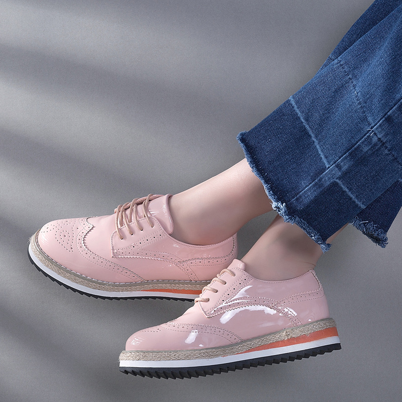 Schlingpflanzen black Flache Nude Mode Teahoo rosa Für Brogues Creepers Creepers Schwarz Creepers pink Patent Damen nude Plateauschuhe Oxford Frauen Schuhe Leder Frau 4qaUaEX